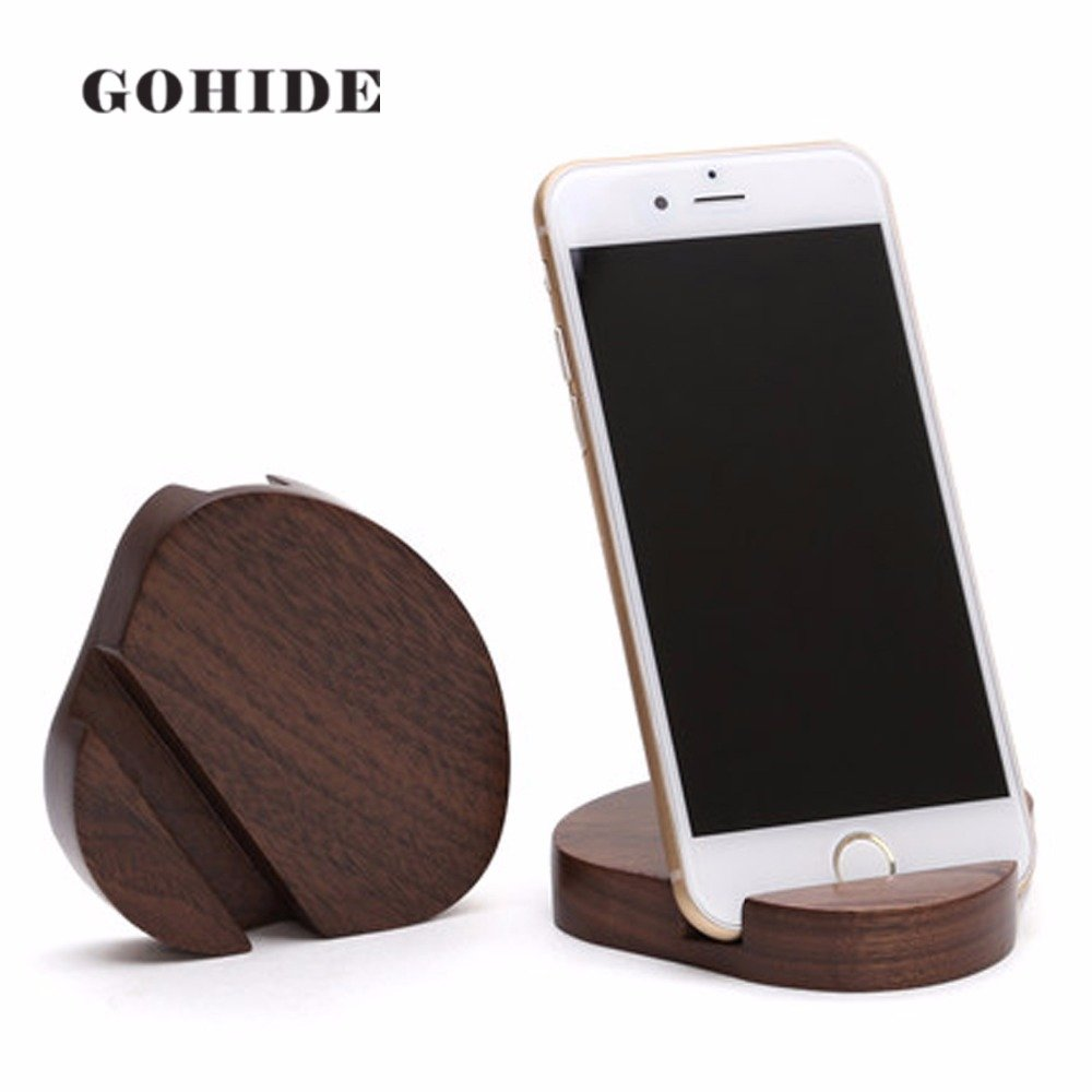 A Gohide Natural Wood Portable Mobile Phone Stands/Holder/Slot In Handmade Easy to use and carry, Shell Shape Pocket Size Fit Cell phone/Tablet/pad/PDA, L:8.9cm W:7.6cm H:1.5cm (WALHUT WOOD) XCX