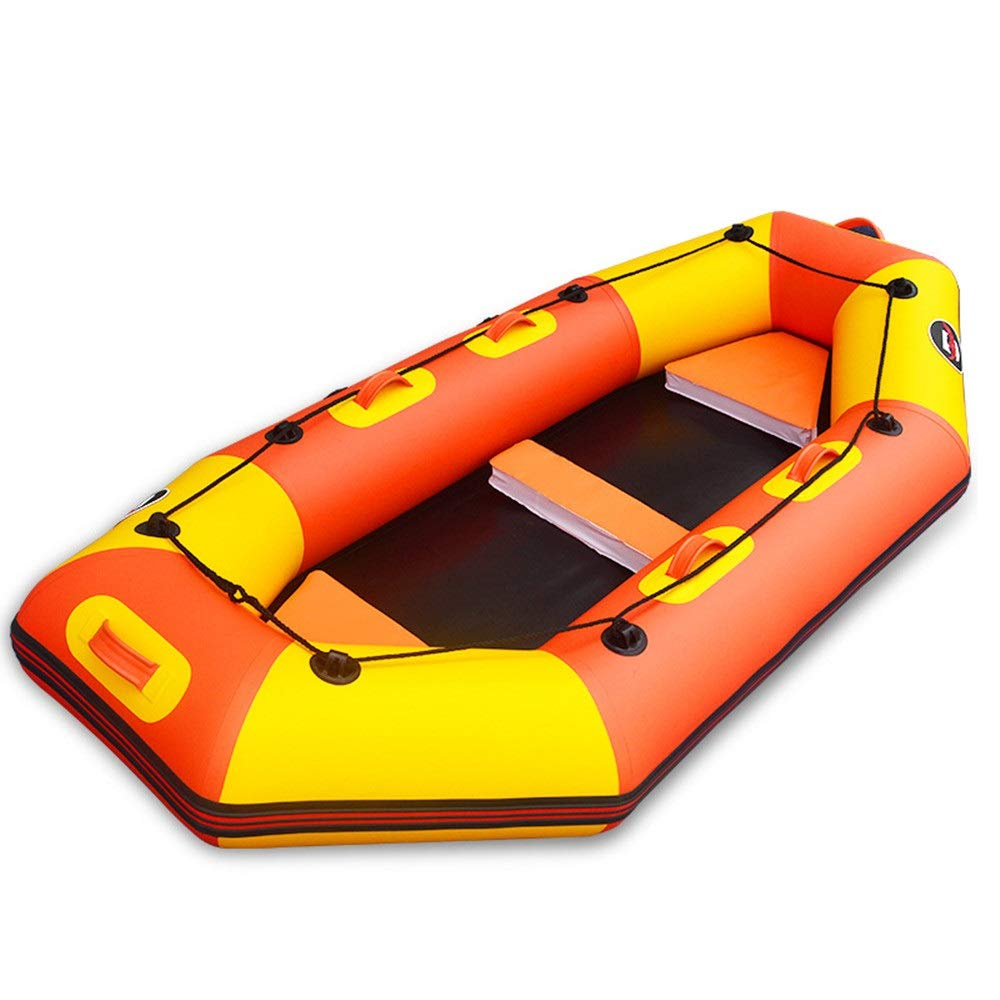 Teerwere-pht Double Inflatable Kayak Professional Drift Boat Thickened Leather Kayak Inflatable Fishing Boat Hard Bottom Rubber Boat Assault Boat Kayak Set (Color : Orange, Size : 2.6M) by Teerwere-pht