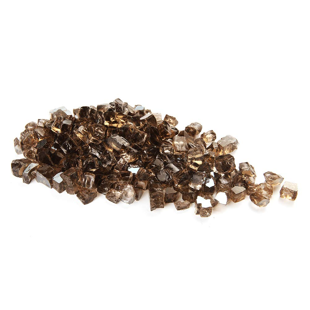MITOO Fire Pit Glass Rocks - Fire Glass Rocks for Gas Fireplace Indoor & Outdoor Fireplace Rocks, Propane Fire Rocks Beads - Diamonds Semi-Reflective | 10 Pounds | 1/2 Inch, , Brownish Luster