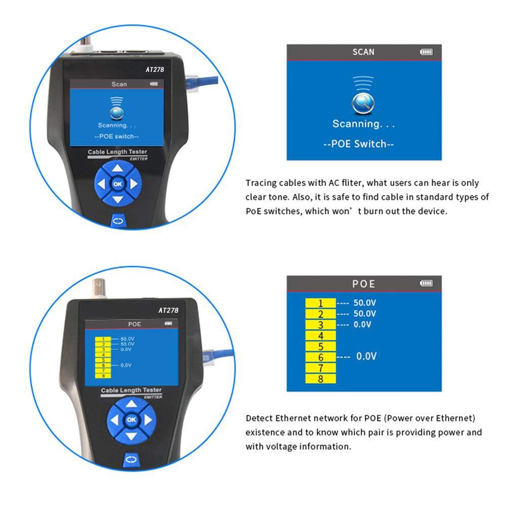 Metallkabel//PING//POE Kabell/ängen-Test mit Port-Blinken KOLSOL Netzwerkkabel-Tester NF-8601S TDR Multifunktions-Leitungstester LCD Leitungsl/ängen-Tester Tracker Breakpoint-Tester RJ45//RJ11//BNC