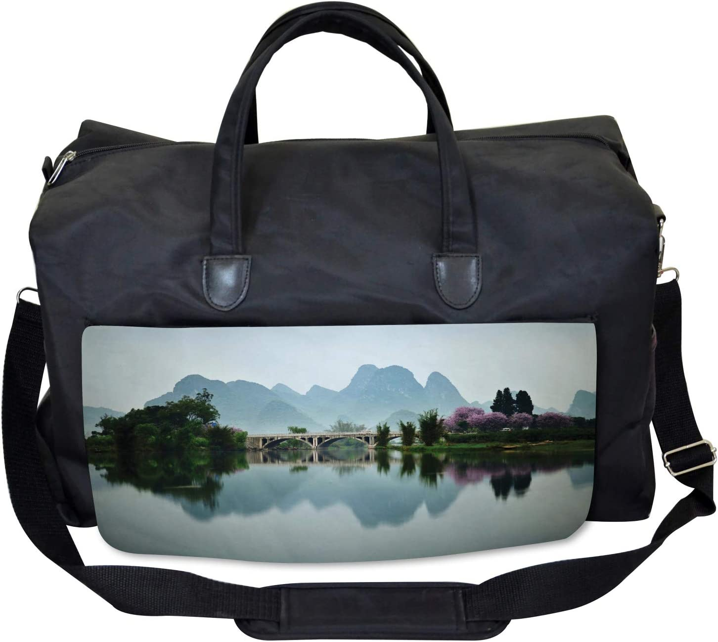 Ambesonne Landscape Gym Bag Large Weekender Carry-on Japanese Lake View