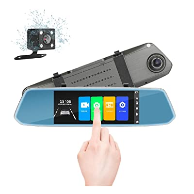 """7"""" Mirror Dual Dash Cam Touch Screen Full HD 1080P Front Camera with Waterproof Rear View Camera, Parking Monitor,G-Sensor, Night Vision, Loop Recording: Car Electronics"""