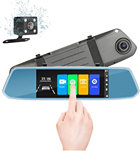 "7"" Mirror Dual Dash Cam Touch Screen Full HD 1080P Front Camera with Waterproof Rear View Camera, Parking Monitor,G-Sensor, Night Vision, Loop Recording"