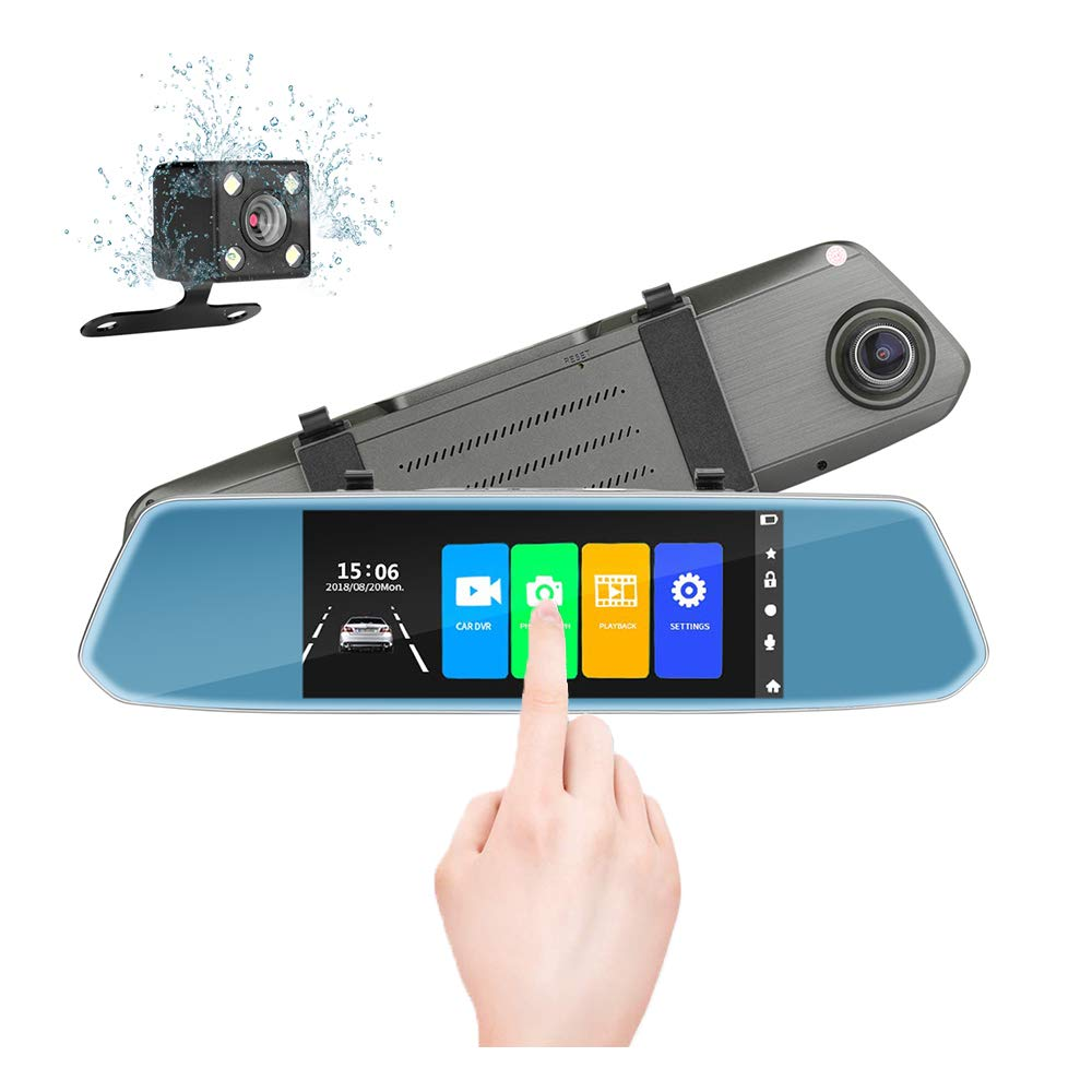 7'' Mirror Dual Dash Cam Touch Screen Full HD 1080P Front Camera with Waterproof Rear View Camera, Parking Monitor,G-Sensor, Night Vision, Loop Recording