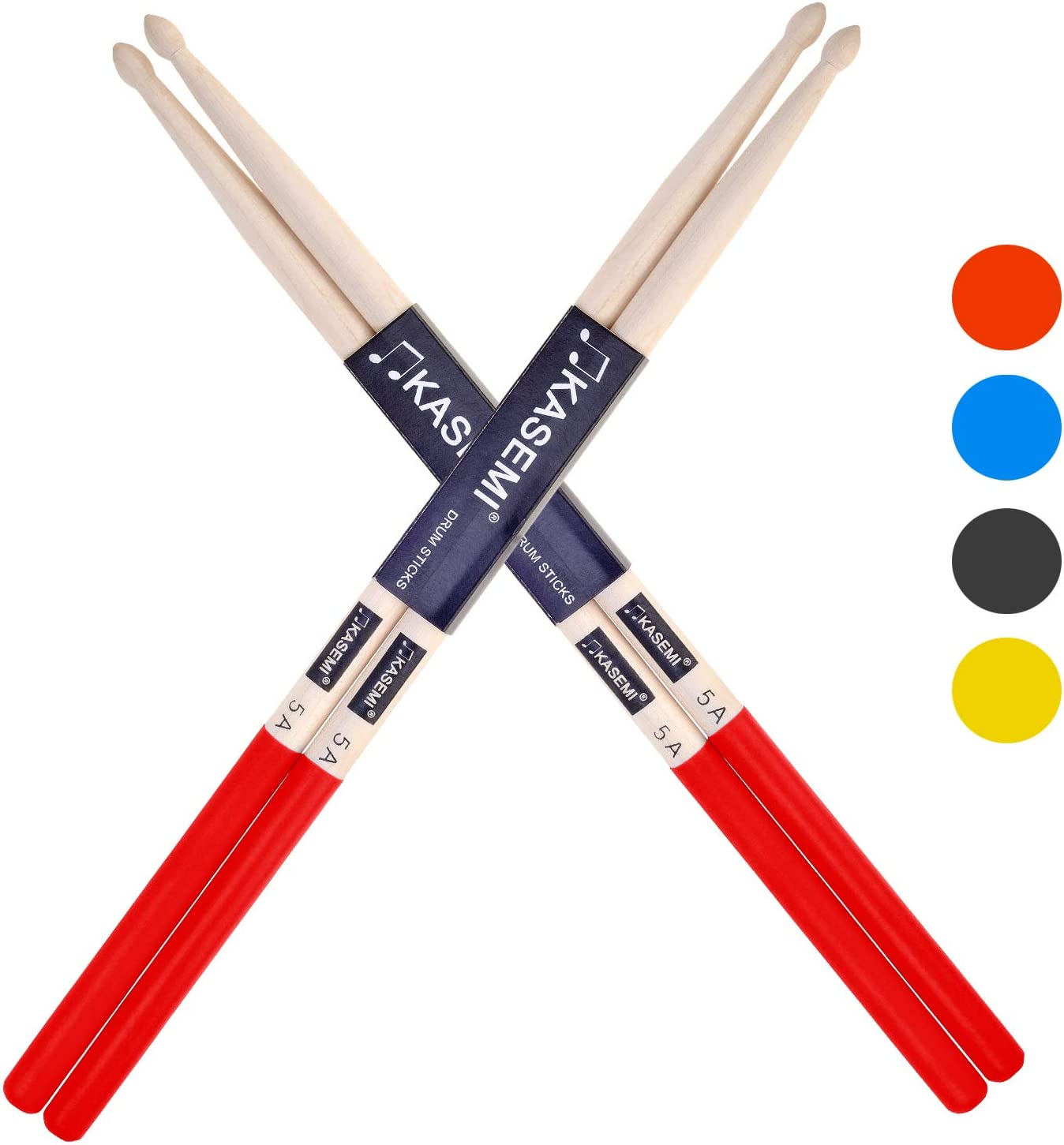 KASEMI Drum Sticks Non-Slip, 5A Wood Tip Drumstick (2 Pair)