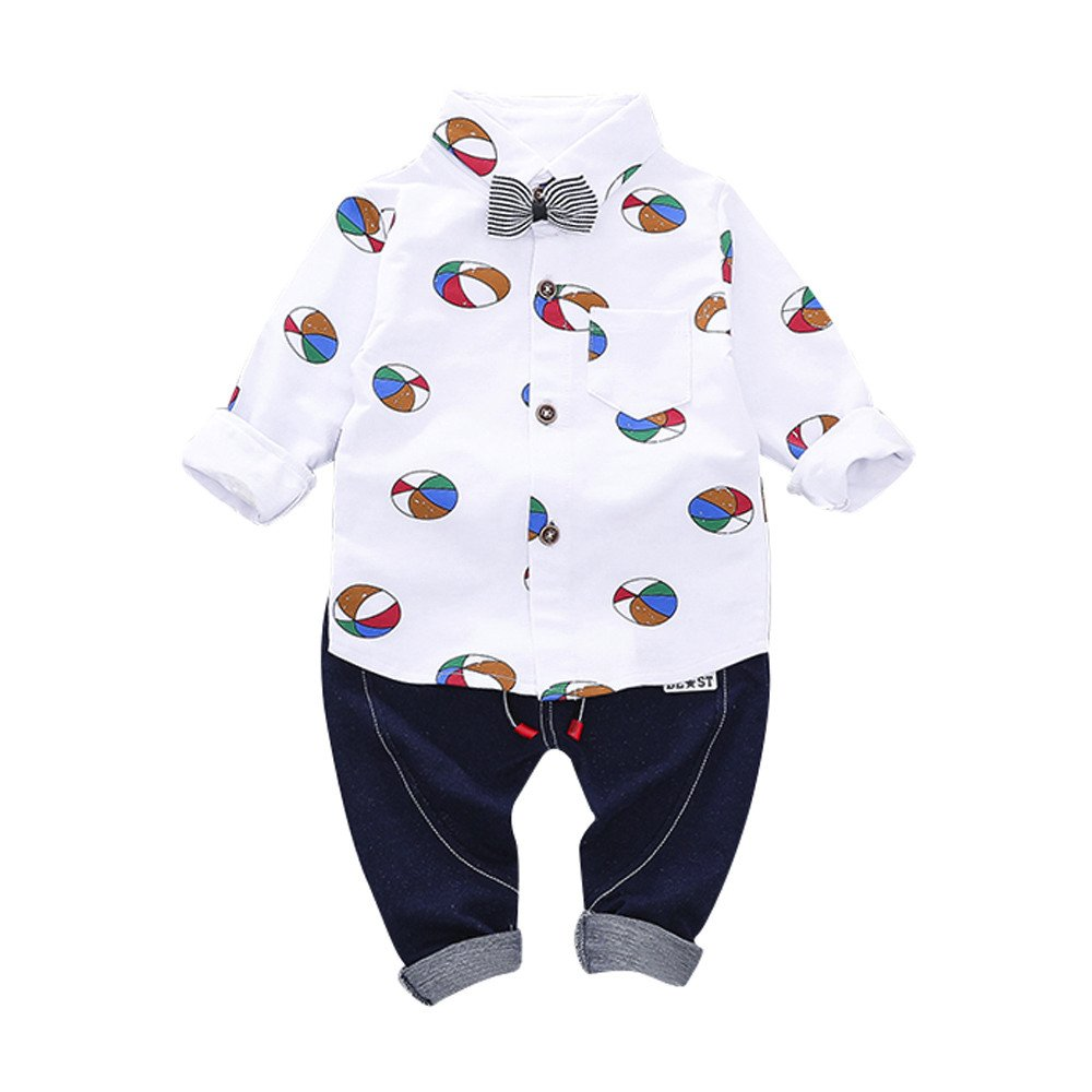 Little Boy Autumn SetsJchen(TM) Fashion New Style 2Pcs Infant Toddler Baby Boys Ballon Print Bow Long Sleeve Tops Shirt+Pants Outfits for 0-3 Years Old (Age: 18-24 Months, White)