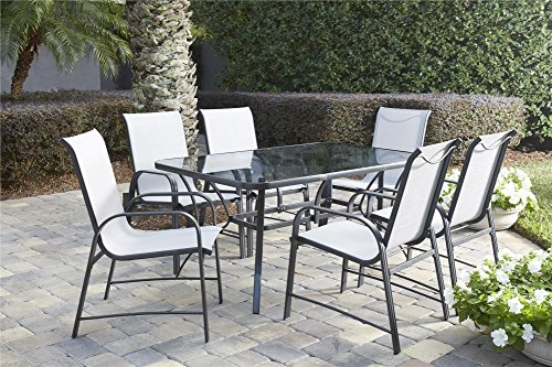 "COSCO 88647GLGE Outdoor Living 7 Piece Paloma Steel Patio Dining Set, Light/Dark Gray - Cosco's Paloma collection outdoor dining table and 6 chair set feature a durable weather resistant outdoor powder coated steel frame and all weather sling The easy to clean stylish gray finish can match nicely with existing outdoor furniture Dimensions are: Dining table 60"" L x 38"" W x 28.35"" H. Dining chair-21.41 L x 26.57 W x 37.4 H inches. Chair-Seat Dimensions- 16 H x 17.75 W x 18.5 D inches. Chair-Back-21.4 H x 17.75 W inches - patio-furniture, dining-sets-patio-funiture, patio - 61KeC78tleL -"