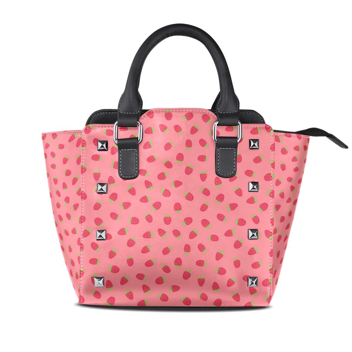 Design2 Handbag Watermelon Seed Genuine Leather Tote Rivet Bag Shoulder Strap Top Handle Women