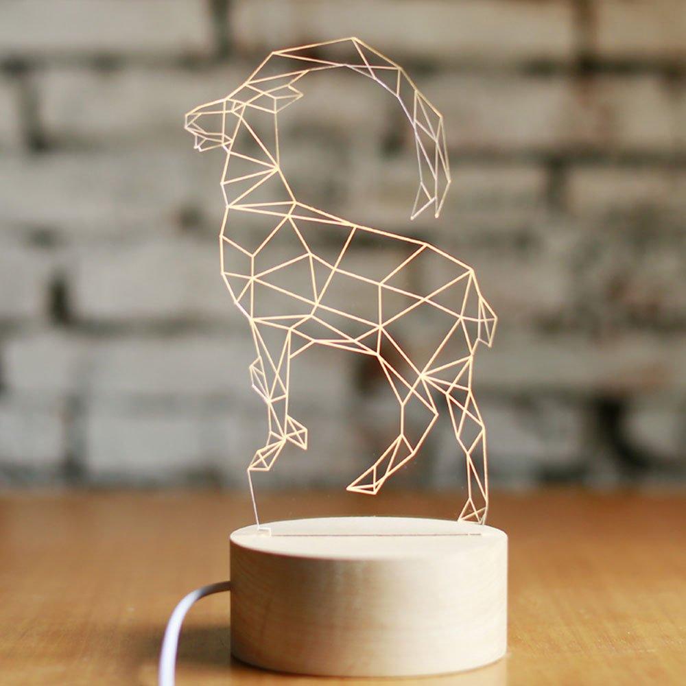 Pumpink Mini Lamb LED 3D Animales Decoración Decoración Animales Escritorio Luz Lámpara de Mesa Madera sólida Resina Simple Cabra Noche Luz Navidad Día de San Valentín Cumpleaños Regalo Mesa Luz 821590