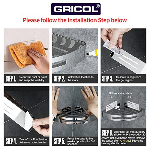 Gricol Bathroom Corner Shower Shelf Wall Shower Caddy Stainless Steel Self Adhesive No Damage Wall Mount (Silver), 2 Pack by Gricol (Image #6)
