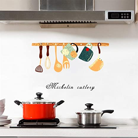 Amazon Com Cutlery Tableware Oil Proof Wall Decal Sticker Art Vinyl Decor Removable Pvc Decoration For Kitchen Canteen Cabinet Dining Room Home Kitchen