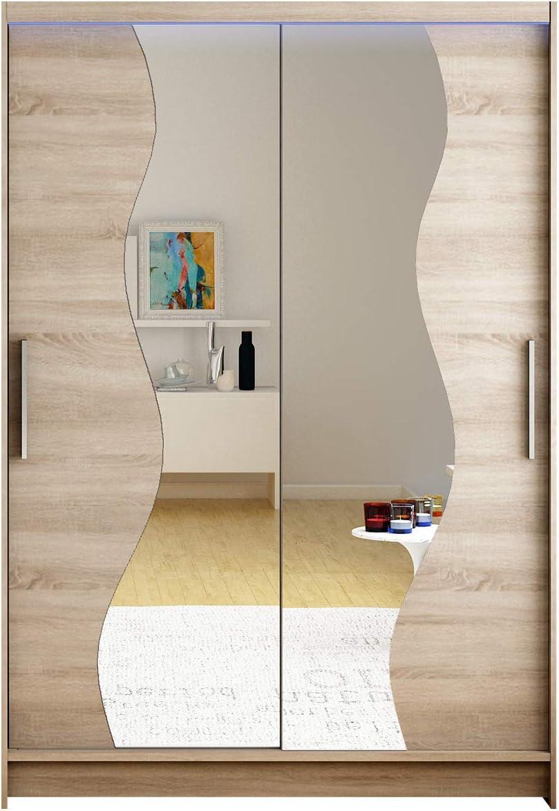 Armario Miami S con espejo, ancho: 120 cm, armario con puertas correderas con barra y estante, armario para dormitorio, vestíbulo, dormitorio, vestíbulo y pasillo.: Amazon.es: Juguetes y juegos