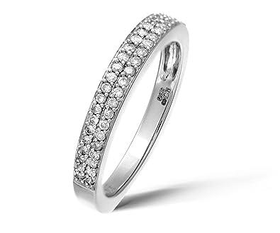 UK Hallmarked Heavy 2 Grams White Gold & 1/4 Carat Diamonds Set Half Eternity Ring QrpgZJQ