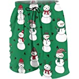 Christmas Deer and Snowman Boys Casual Swim Trunk Swimsuit Youth Quick Dry Board Shorts Swimwear with Pockets