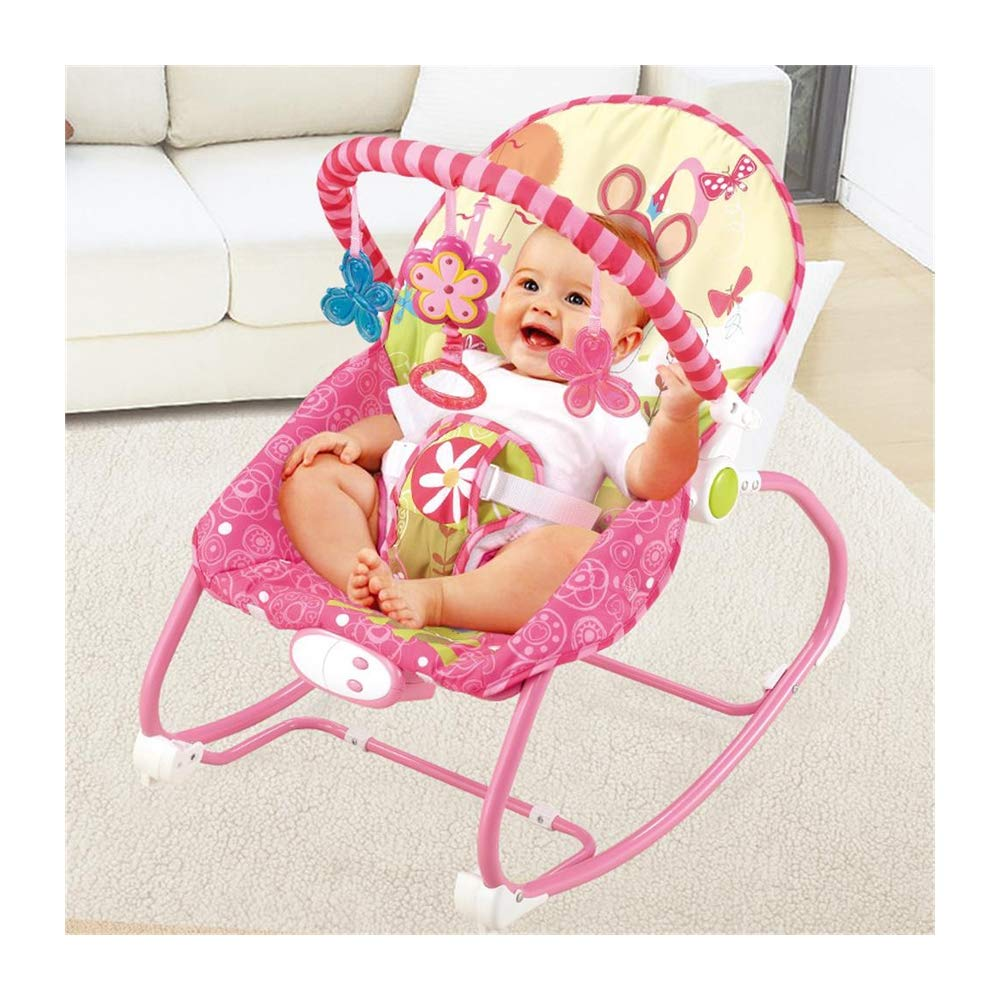 JFMBJS Baby Bouncer with Musical Melodies Soothing Vibration, Baby Rocker Chair with Hanging Toys, Adjustable Backrest by JFMBJS