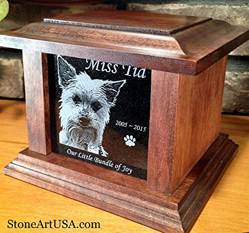 Etch Urn (StoneArtUSA Pet Cremation Memorial Urn by Eric Small Dark Wood & Granite Stone for pets up to 48 lbs./Custom Picture Personalized Engraved Laser Etched Photo Marker Dog Cat Pet Ashes)