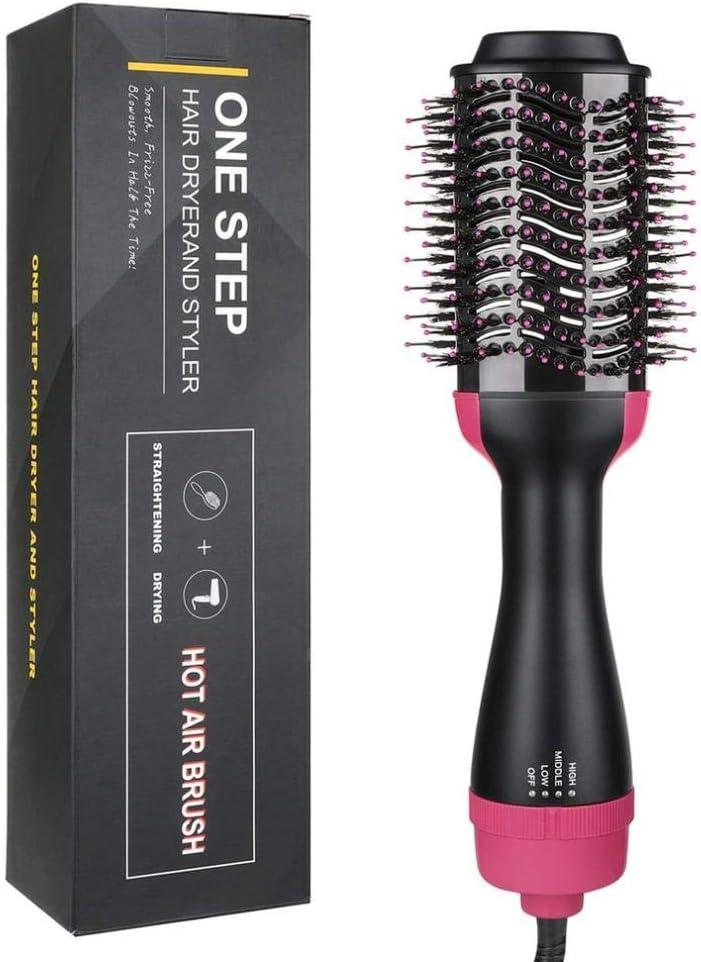 Cepillo de pelo Peluquería Rizador Secador de pelo y voluminizador Generador de iones negativos Rizador de pelo Alisador Herramientas de peinado Dropship-Rosa roja