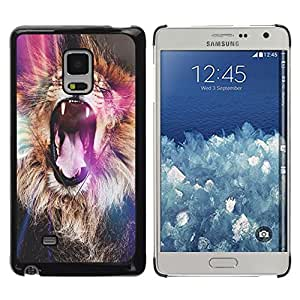 FlareStar Colour Printing Lion Purple Roar Yawn Fur Africa Abstract cáscara Funda Case Caso de plástico para Samsung Galaxy Mega 5.8 / i9150 / i9152