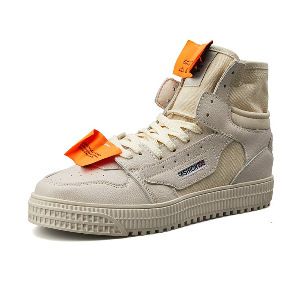 Männer Leder/Canvas / Loafers Schuhe Frühling/Herbst Breathable New Trend/High-top/Turnschuhe Herren Casual Canvas Schuhe/Hip Hop Tanzschuhe (Farbe : Beige, Größe : 44)