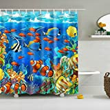 Fish Shower Curtain GWELL Blue Ocean Tropical Fish Coral Undersea World Shower Curtain Waterproof Fabric Bathroom Curtain with 12 Hooks (70.86X70.86-Inch, #1)