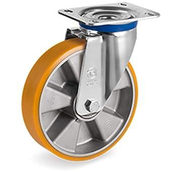 Rueda giratoria cargas pesadas Poliuretano 200 mm Rodamientos 500 kg