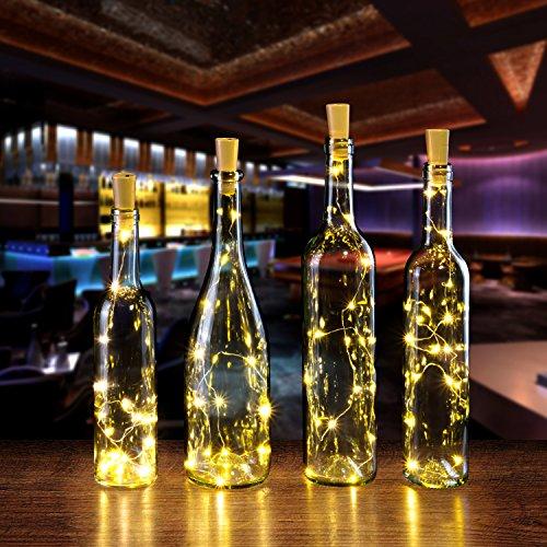 AGPTEK 8PCS/Set Cork Shape Lights 30inch Copper Wire Wine Mini String Light for Christmas Wedding Party Halloween Decoration - Warm White -