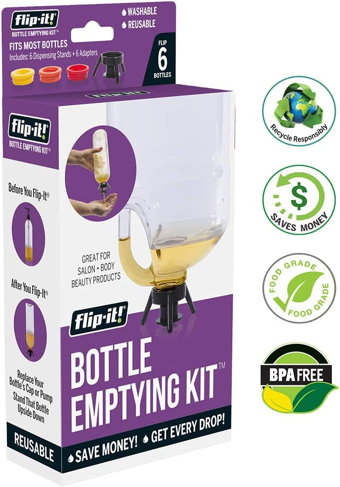 Flip-it! Bottle Emptying Kit - Deluxe - Flip Bottle Upside Down To Get Every Last Drop Out of Shampoos, Conditioners and Moisturizers with Flip-It! Great Tool for Salons, Stylists | 6 Reuseable Kits