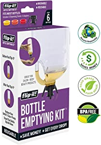 Flip-it! Bottle Emptying Kit - Deluxe - Flip Bottle Upside Down To Get Every Last Drop Out of Shampoos, Conditioners and Moisturizers with Flip-It! Great Tool for Salons, Stylists   6 Reuseable Kits