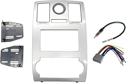 KHAKI Custom Install Parts Jeep Grand Cherokee 2005-2007 Double Din Navigation Radio Bezel Dash Install Kit with Standard Wiring Harness and Antenna Adapter