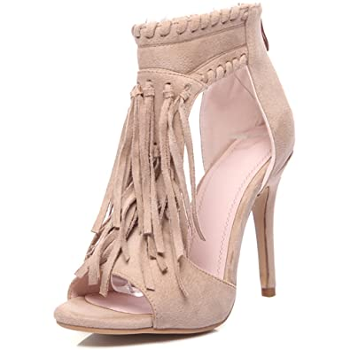 Casual Fashion Fringe Cover Thin High Heels Round Toe Flock Zip Closure  Ankle Sandals Non Slip 5dbca88343b1