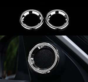 HAILWH Bling Accessories Fit for Honda Civic 2016-2020 Gear Lever Cover Warning Lights Rhinestone Decorative Cover Interior Modification (A-Pillar Horn Ring (2 Piece/Set))