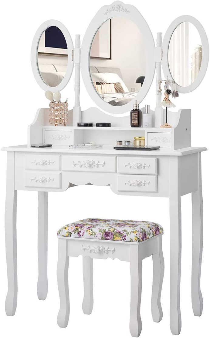 CHARMAID Vanity Set with Tri-Folding Mirror and Cushioned Stool, Dressing Table with 7 Drawers and a Shelf, Makeup Table Writing Desk with Removable Top, Makeup Vanity Set for Women Girls White