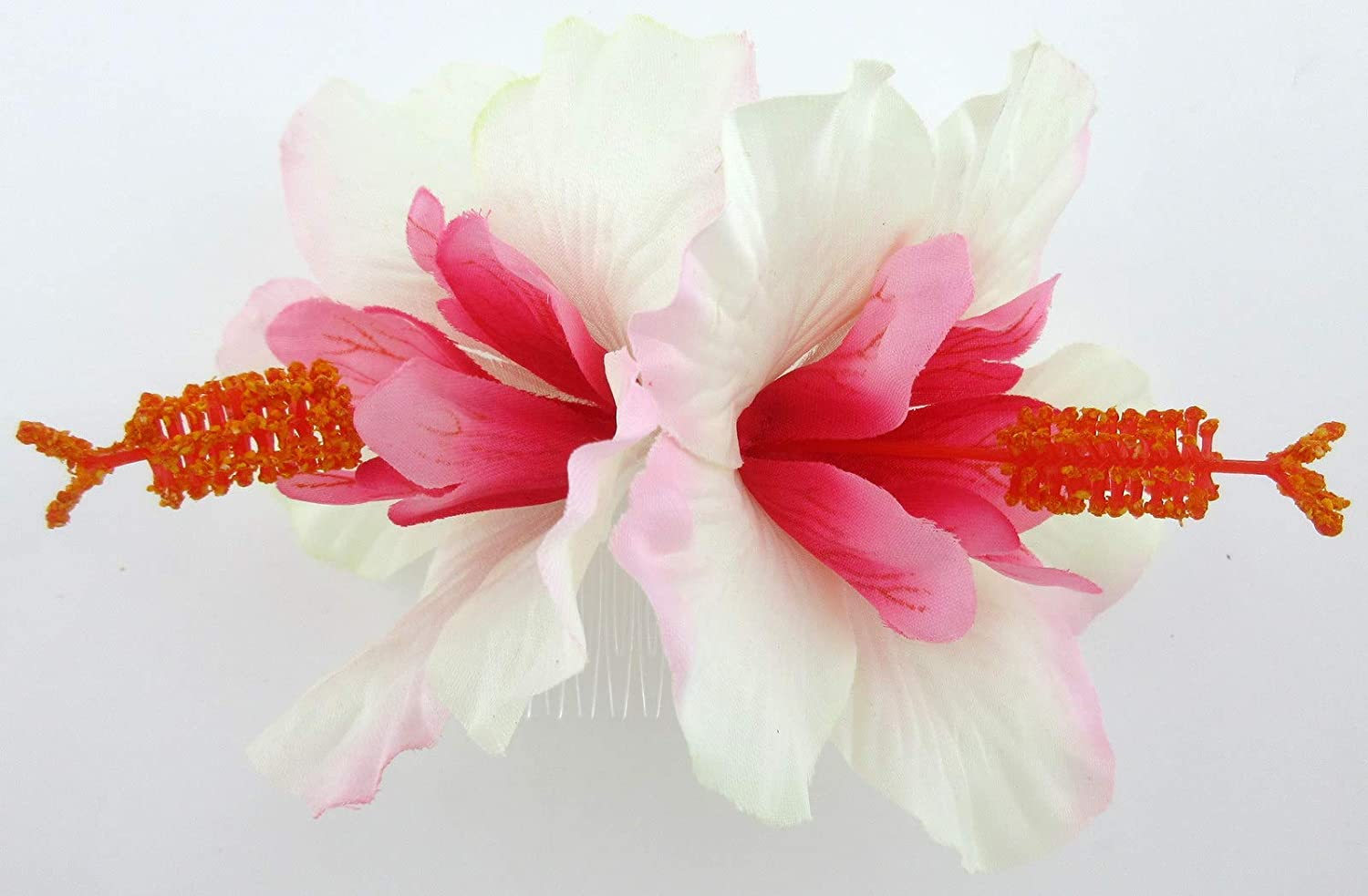 """Deluxe 4.5/"""" Bright Hot Pink White Cream Double Hibiscus Silk Flower Hair Clip"""