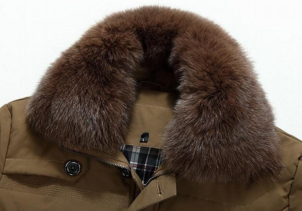 MK988 Mens Winter Warm Fur Collar Mid Legnth Down Coat Jacket Outerwear