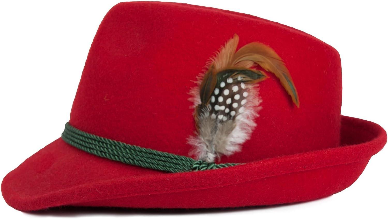 Farben Schuhmacher Damenhut aus Wolle mit Federn vers