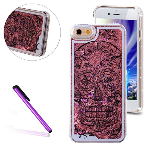 iPhone 6 Plus/6S Plus Case, EMAXELER Horror Painted Series 3D Glitter Liquid Floating Bling Moving Hard Protective Cellphone Case for iPhone 6 Plus / 6S Plus + Send 1Pcs Stylus Pen--Skull: Pink