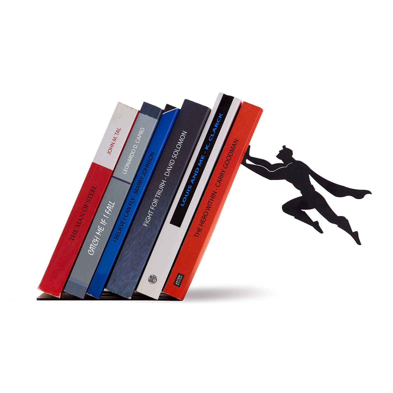 Artori Design Book Ends | Black Metal Superhero Book Ends | Unique Bookends | Gifts for Geeks | Gifts for Book Lovers | Cool Book Stopper Gift for Dad Book & Hero by Artori Design