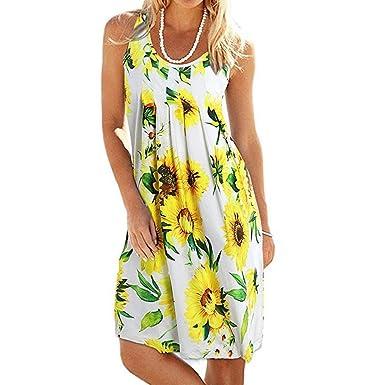 c733faf29679a Amazon.com: Zainafacai Womens Summer Casual Sleeveless Mini Floral Printed  Vest Dresses Boho Evening Party Beach Dresses Tank Dress: Clothing