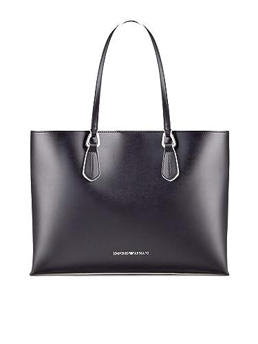5852b74a6a24 Emporio Armani Femmes sac en faux cuir contraste garniture 38x29x13 cm  Noir  Amazon.fr  Chaussures et Sacs