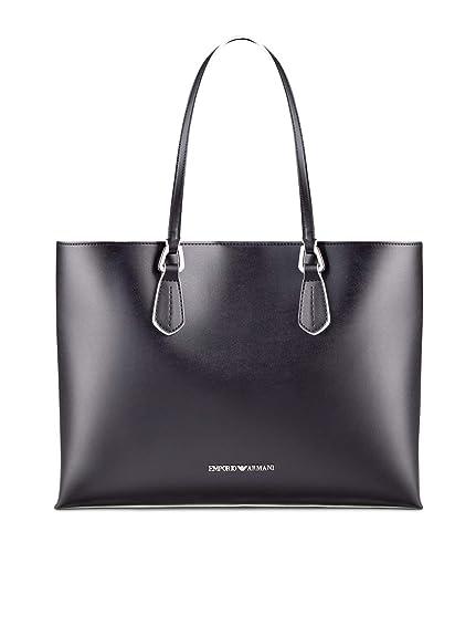 Armani Women s Faux Leather Contrast Trim Tote Bag One Size Black   Amazon.co.uk  Shoes   Bags 2f7b62b649b72