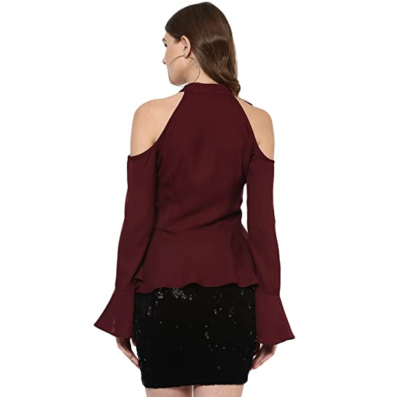 84e9ab258ea4d Woowzerz Burgundy Cold Shoulder Peplum Top  Amazon.in  Clothing    Accessories