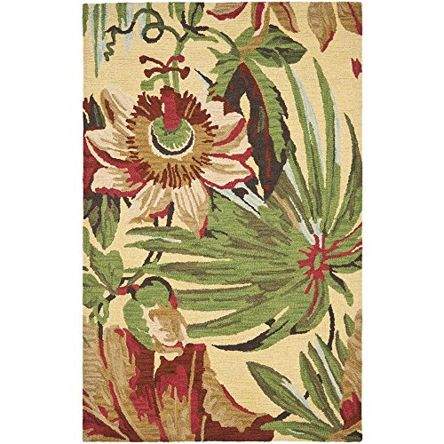 Wool Tropical Floral Area Rug - Safavieh Jardin Collection JAR325A Handmade Ivory and Multi Premium Wool Area Rug (5' x 8')