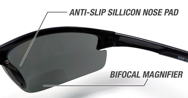 b6538c3833ab Amazon.com  Eye Ojo Renegade Patented Bifocal Polarized Reader Half Rim  Men s Fishing Sunglasses 100% UV Protection with Microfiber Bag  Sports    Outdoors