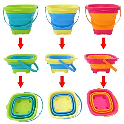 Akabsh [3 Pack 2 Liters Foldable Bucket Silicone Collapsible Bucket Beach Bucket Sand Toy for Kids, Sand Bucket Sand Pail Square for Beach Multi-Purpose [Ship from US]: Home & Kitchen