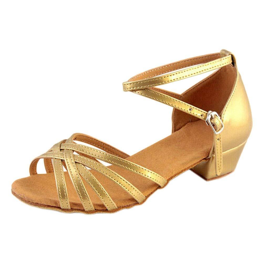 Meijunter Girl's Women Latin Dance Shoes Chunky Heel Tango Samba Sandals - Cozy Satin Ankel Strap Indoor Party Practice Ballroom Low Heels