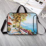 Landscape Neoprene Laptop Bag,Summer House Sea Mountain Terrace Trees and Flower Bed in