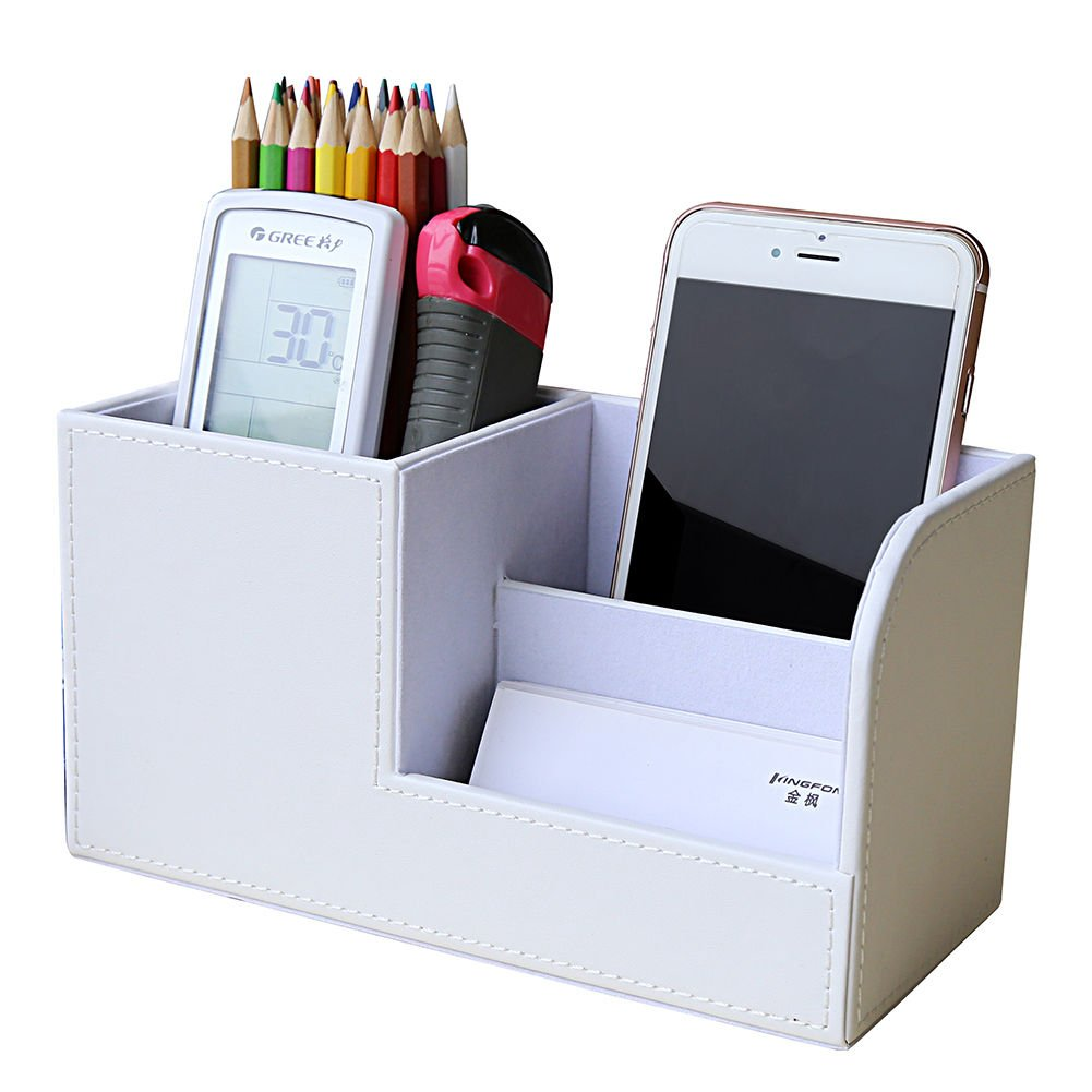 KINGFOM Wooden Struction Leather Multi-function Desk Stationery Organizer Storage Box Pen/Pencil,Cell phone, Business Name Cards Remote Control Holder Colors (S-White)