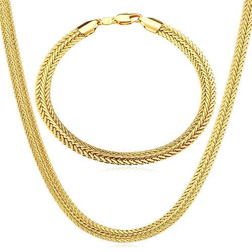 U7 Men Necklace Bracelet Set 18K Stamp Jewelry Gold Plated Foxtail Chain  6MM Wide d71bdfc923f9