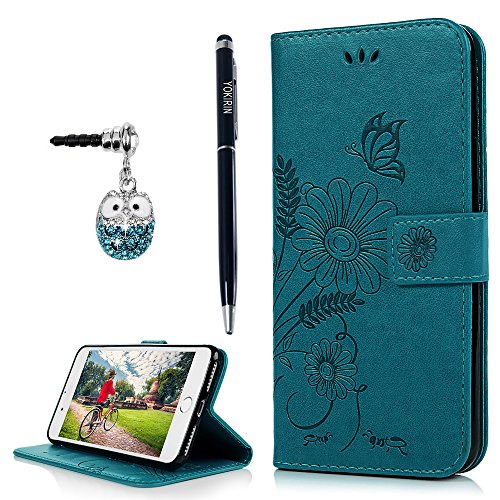 s Wallet Case, iPhone 8 Plus Case, Embossed Ant Flower Flip Magnet Closure Premium PU Leather Soft TPU Inner Case Credit Card Slots Protective Cover with Dust Plug & Pen - Blue (Leather Telephone)
