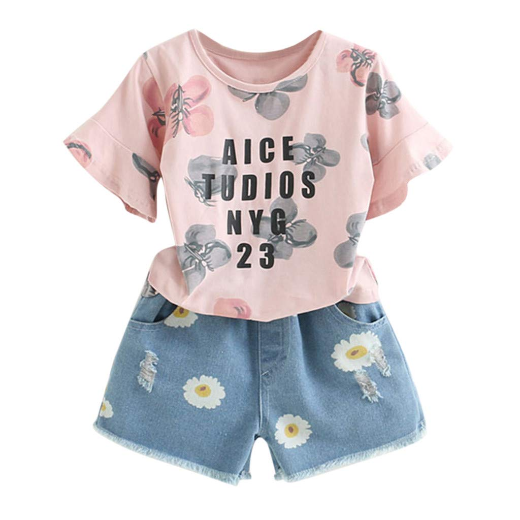 BCDshop 2-7 Year Old Toddler Kids Girl Summer Outfits Floral Print Top T-Shirt+Denim Shorts (120, Pink) by BCDshop_Baby Summer Clothes